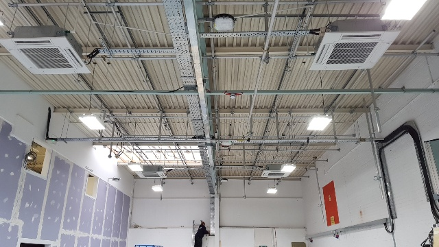 Commercial air con installation internal ceiling units